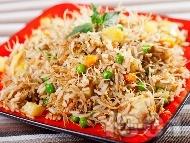 Рецепта Пиле Биряни с ориз, картофи, пилешки гърди, зеленчуци и оризови спагети
